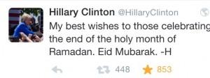 Screenshot Twitter Tweet von Hillary Clinton