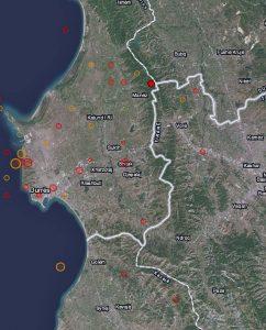 Karten der grösseren Nachbeben