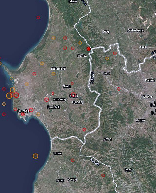 Karte von Nachbeben in Albanien im September 2019