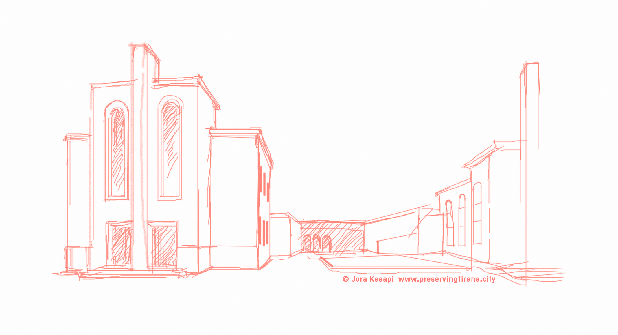 Nationaltheater Tirana Zeichnung ©Jora Kasapi