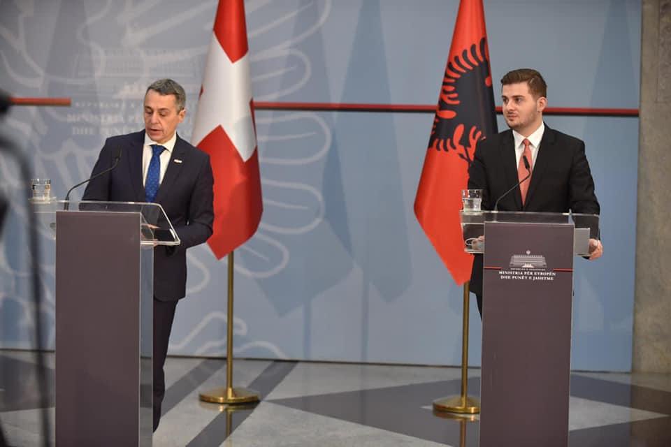 Ignazio Cassis und Gent Cakaj, Tirana 2020