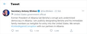 Tweet von US-Aussenminister Antony Blinken zu Sali Berisha