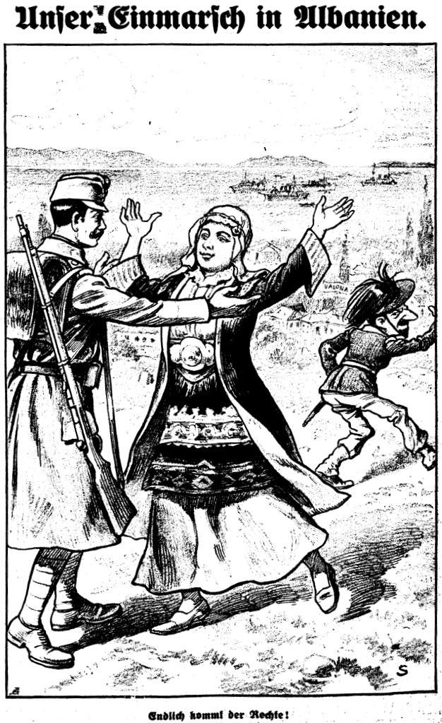 Karikatur Kikeriki zum Österreichischen Einmarsch in Albanien