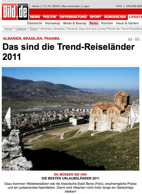 Albanien als Reisedestination auf Bild.de
