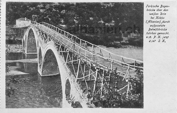 Osmanische Brücke und Behelfsbrücke, Kukës