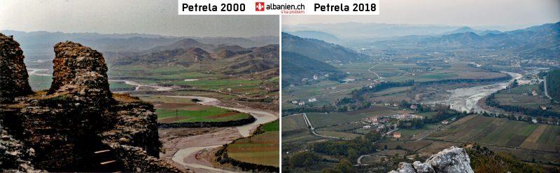 Ausblick von Petrela in den Jahren 2000 und 2018