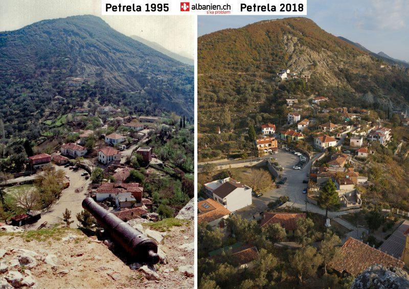 Petrela Dorf in den Jahren 1995 und 2018