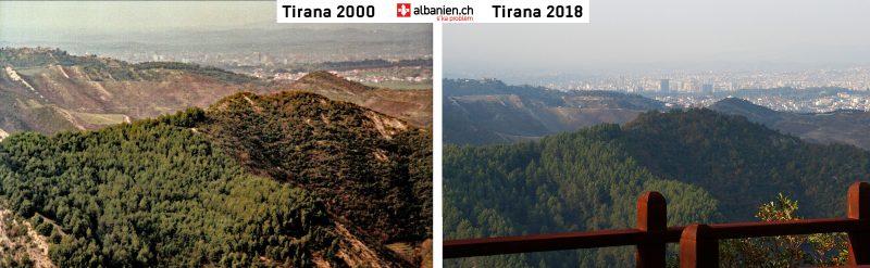 Aussicht von Petrela: Tirana im Jahr 2000 und 2018