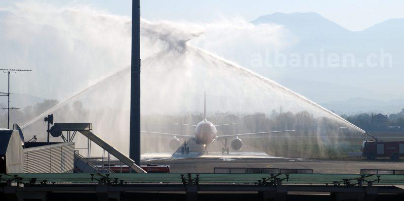Fontäne Feuerwehr Erstflug
